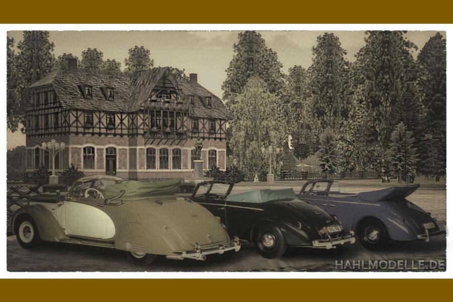 Digitales Modellauto Opel   hahlmodelle.de   3 Opel Admiral Cabriolets vor Kulisse