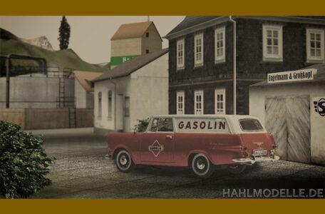 Digitales Modellauto Opel   hahlmodelle.de   3 Opel Rekord P2 Schnell Lieferwagen vor Kulisse
