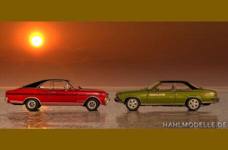 hahlmodelle.de   2 Commodore Coupés am Meer im Sonnenuntergang