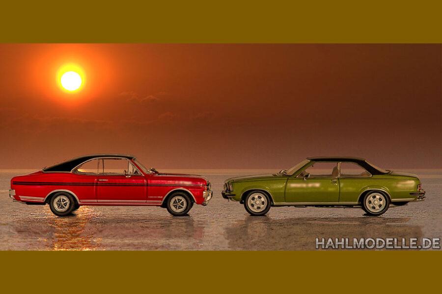 hahlmodelle.de | 2 Commodore Coupés am Meer im Sonnenuntergang