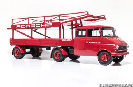 Modellauto Opel | hahlmodelle.de | Opel Blitz Renntransporter Porsche