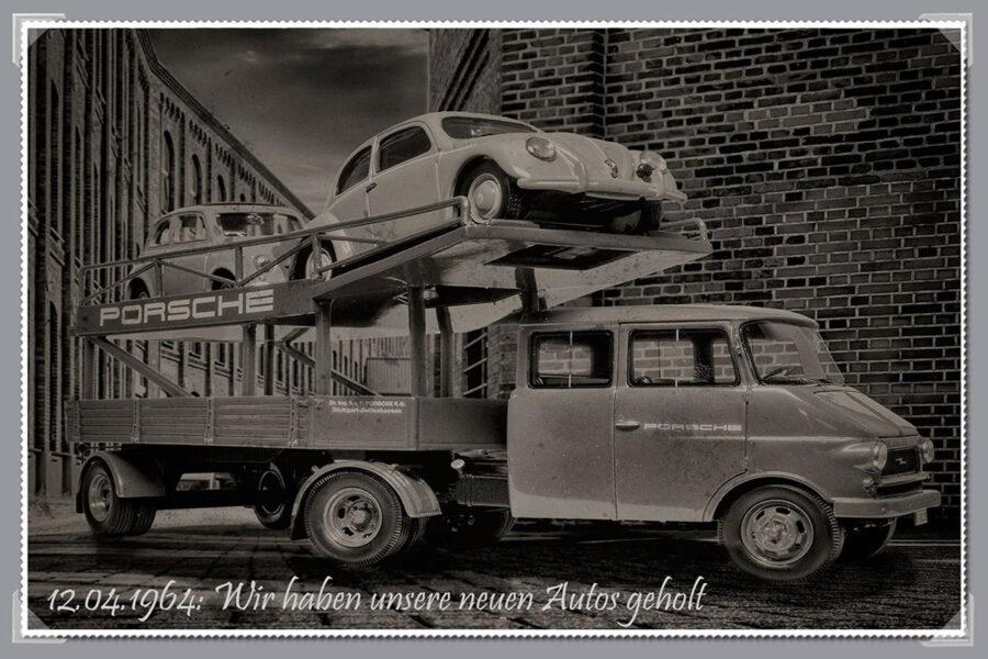 hahlmodelle.de | Der beladene Blitz-Renntransporter auf dem Werksgelände
