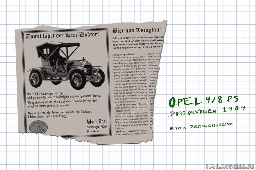 Modellauto Opel | hahlmodelle.de | 4/8 PS Doktorwagen