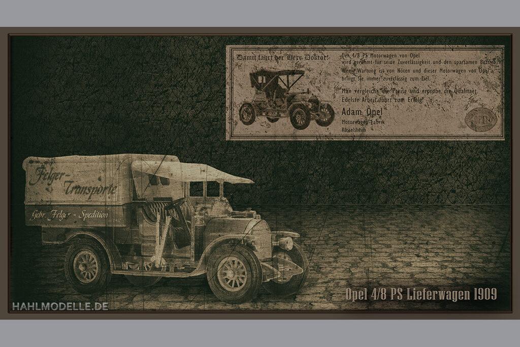 Modellauto Opel | hahlmodelle.de | 4/8 PS Lieferwagen und Doktorwagen