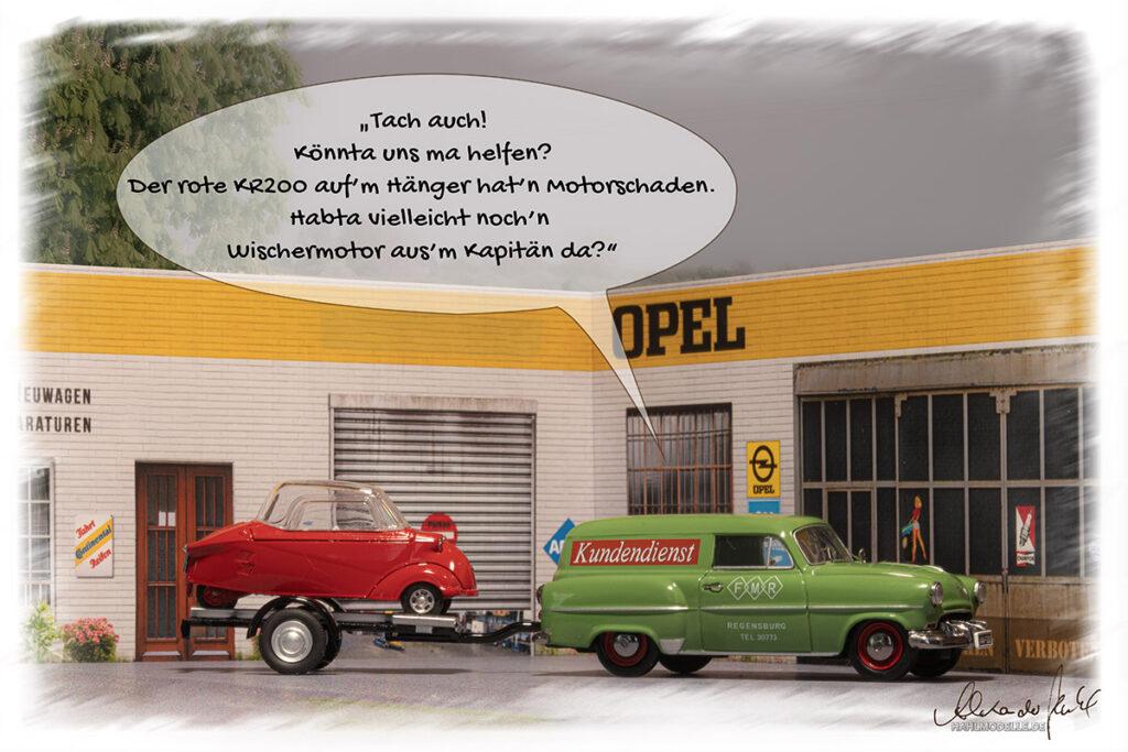 Modellauto Opel | hahlmodelle.de | Olympia L-53 und FMR KR 200 auf Trailer