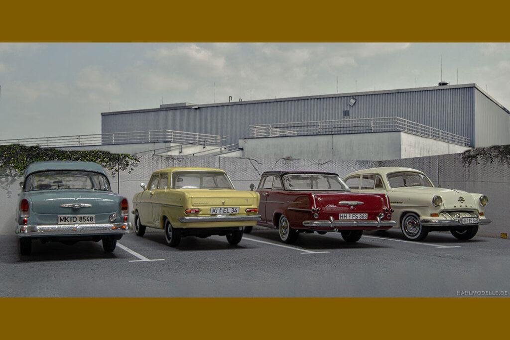 Modellauto Opel | hahlmodelle.de | Drei Spießer-Limousinen und ein rasender Kofferraum