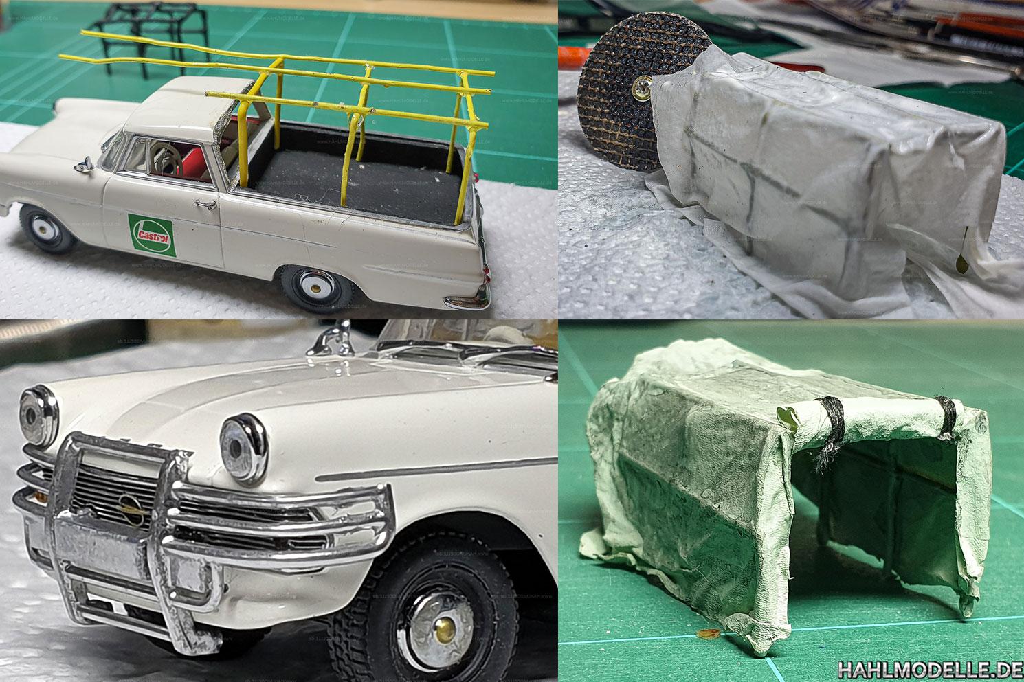 hahlmodelle.de | Opel Rekord P2 PickUp: Zweite Version von Spriegel und Rammschutz, die Plane entsteht auch