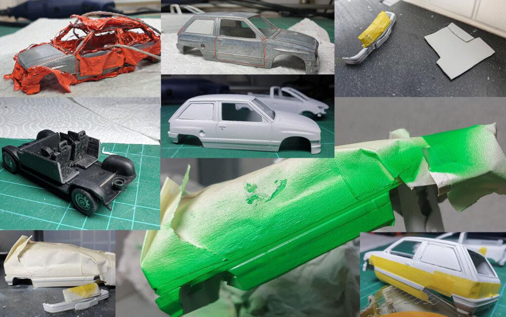 hahlmodelle.de   Opel Corsa A Kastenwagen: Karosseriearbeiten und Lackierung