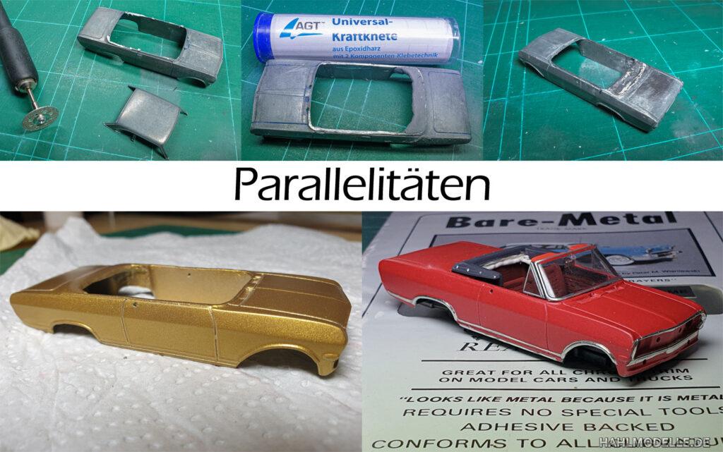 hahlmodelle.de | Opel Rekord B Cabriolet (Deutsch): Umbauschritte-2, Einige Arbeiten