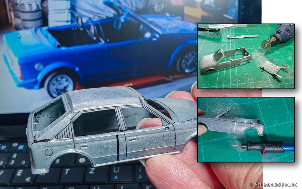hahlmodelle.de   Opel Kadett D Cabriolet (Baumgärtner): Karosseriearbeiten